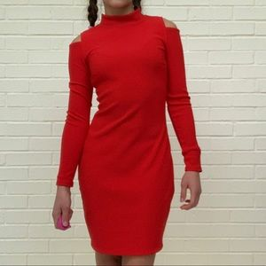 Express | Red Bodycon Shoulder Cutout Dress